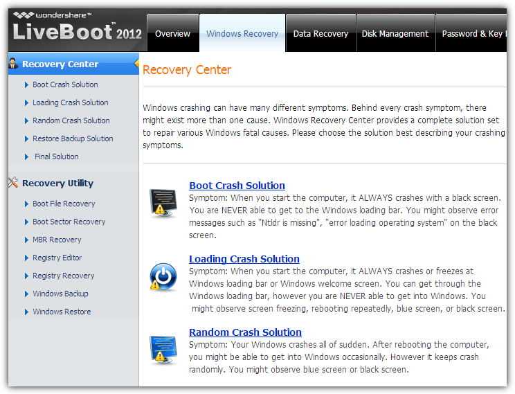 liveboot 2012 windows recovery