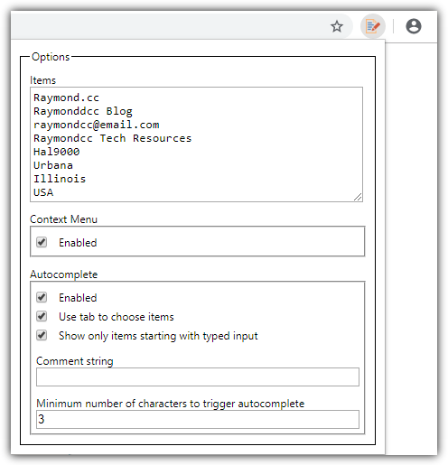 Simlpe form fill options