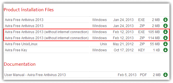 Avira Free Antivirus 2013 without internet connection