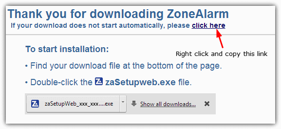 ZoneAlarm download URL