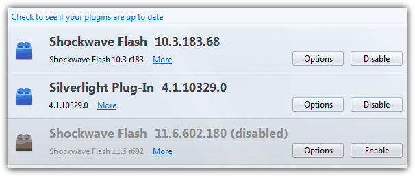 Verify Flash is installed in Firefox
