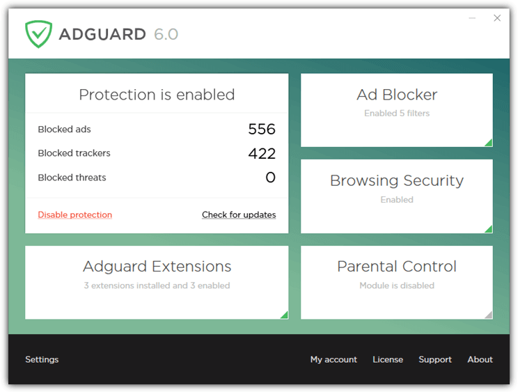adguard main interface