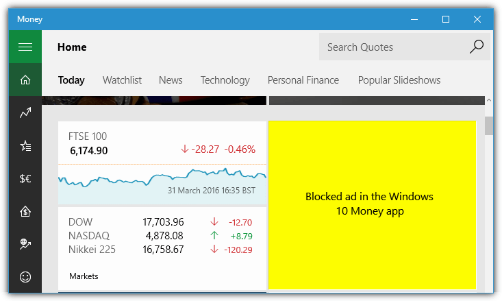 Windows 10 money app blocked ad