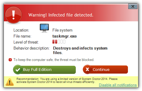 fake infection warning