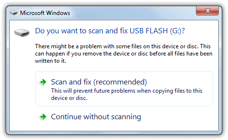 Do you want to scan and fix Removable Disk