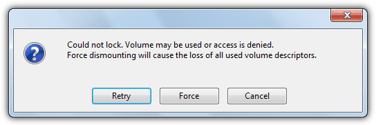 could not lock. volume may be used or access is denied