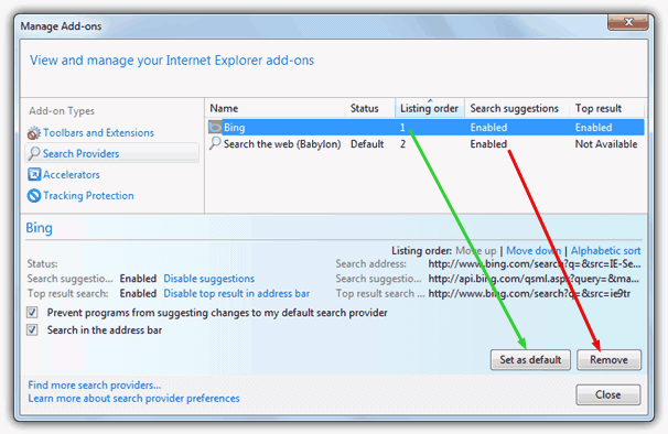 Manage Add-ons Internet Explorer 9