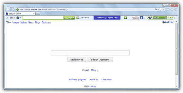 Babylon Toolbar in a web browser