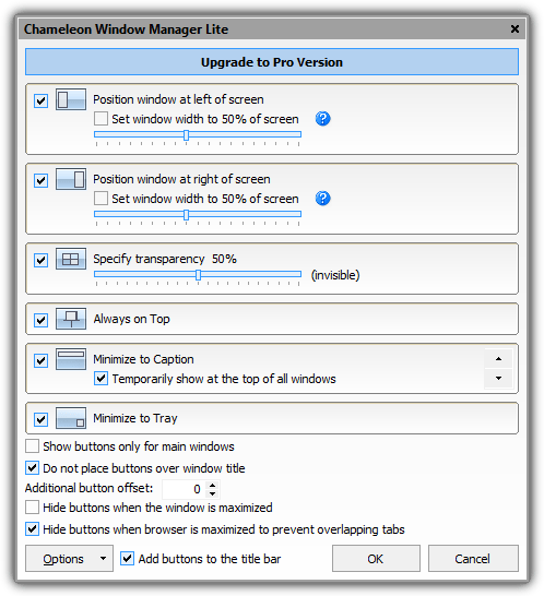 chameleon window manager options