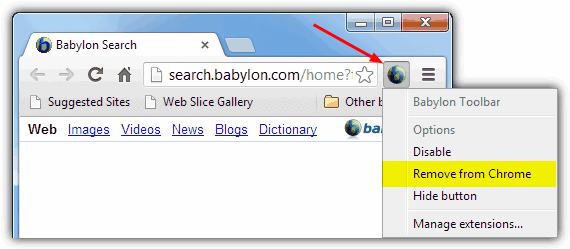 Babylon Toolbar remove from Chrome option