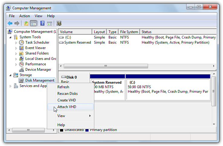 disk management attach vhd