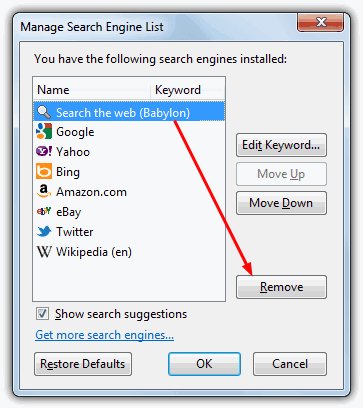 Firefox Search Engines List removal option