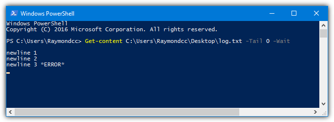 powershell get-content tail