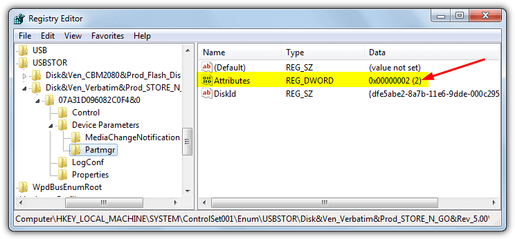 registry usb attributes setting