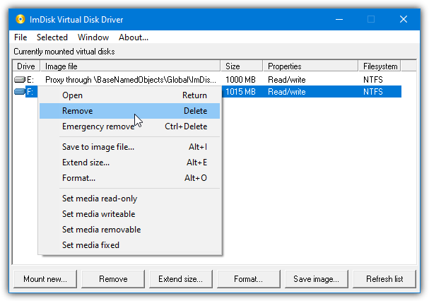 Remove imdisk virtual disk