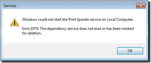 windows could not start the print spooler service 1075