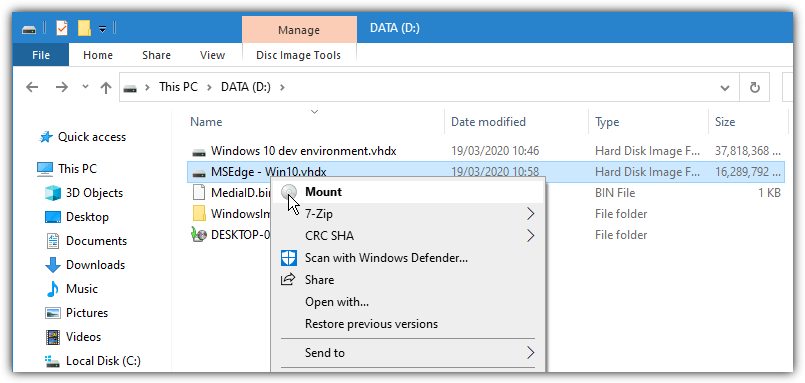 Windows 10 mount vhdx