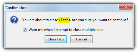close tabs warning