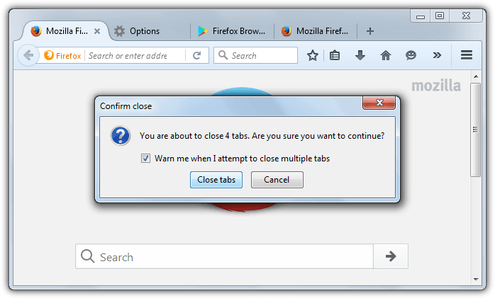 close tabs warning firefox