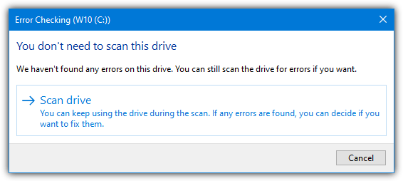 Do not need to scan this drive