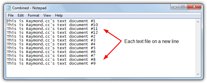 jopined text files on separate lines
