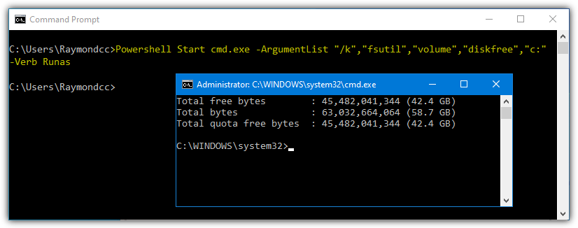 Powershell launch admin cmd args