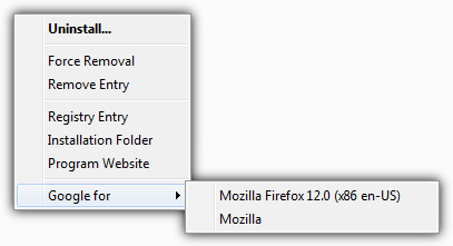 uninstall program context menu
