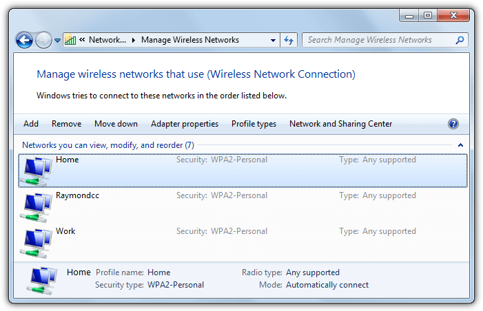 multiple wireless network profiles