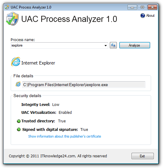 UAC Process Analyzer main window