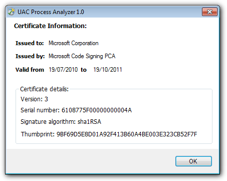 showing a certificate in UAC Process Analyzer