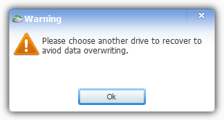 cannot restore to same drive warning