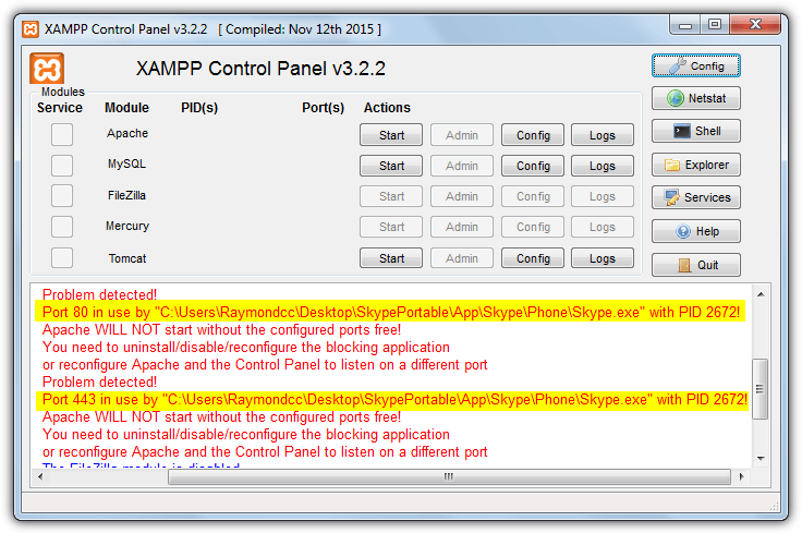 Change Apache Server Port 80 in XAMPP, WAMP Server, UwAmp
