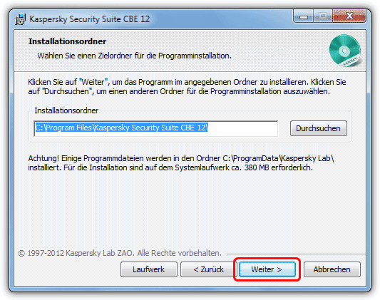 Kaspersky CBE Install Location