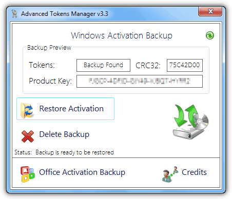 Restore token from a backup