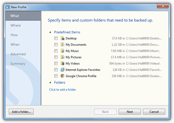 specify items for backup