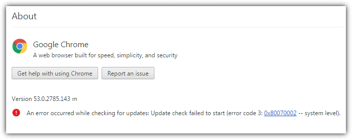chrome about window update error
