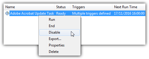 disable adobe reader task