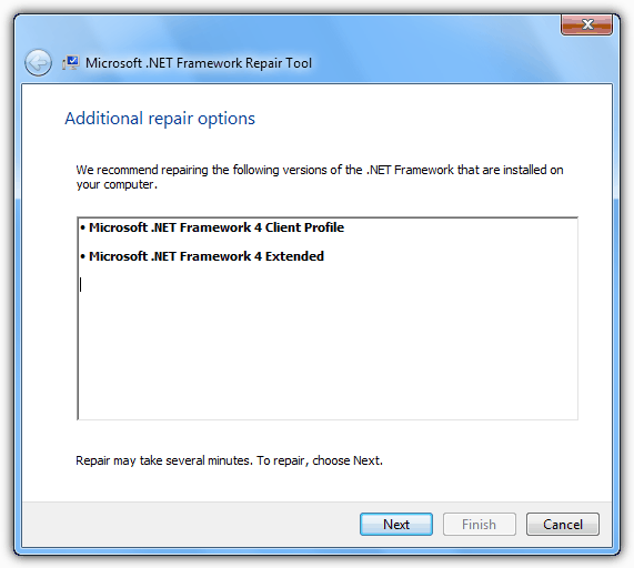 Additional .NET Framework repair tool repair options