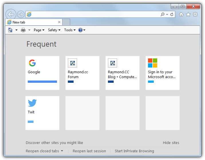 internet explorer new tab