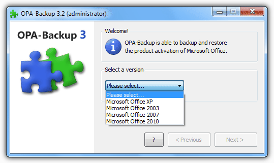 OPA-Backup select Office version