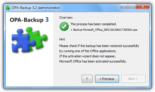 Conformation OPA-Backup has completed