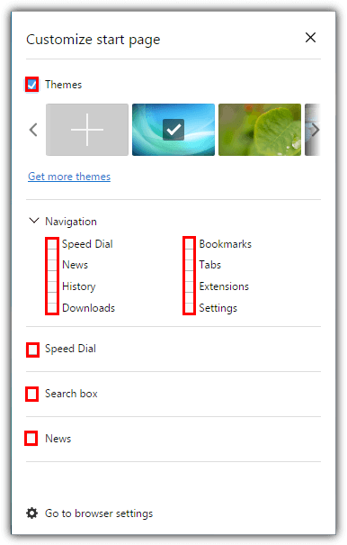 opera disable speed dial options