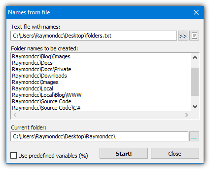 Xmd names from file