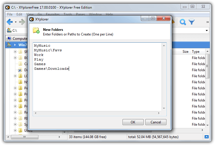 xyplorer create new folders