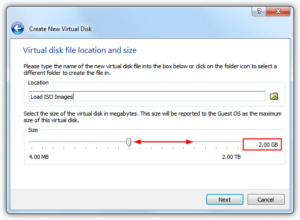 Virtual disk location and size