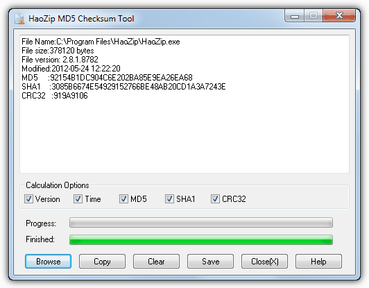 Haozip MD5 checksum tool