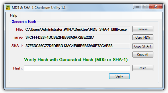 MD5 & SHA-1 Checksum Utility