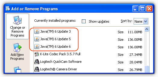 java installations in add and remove programs