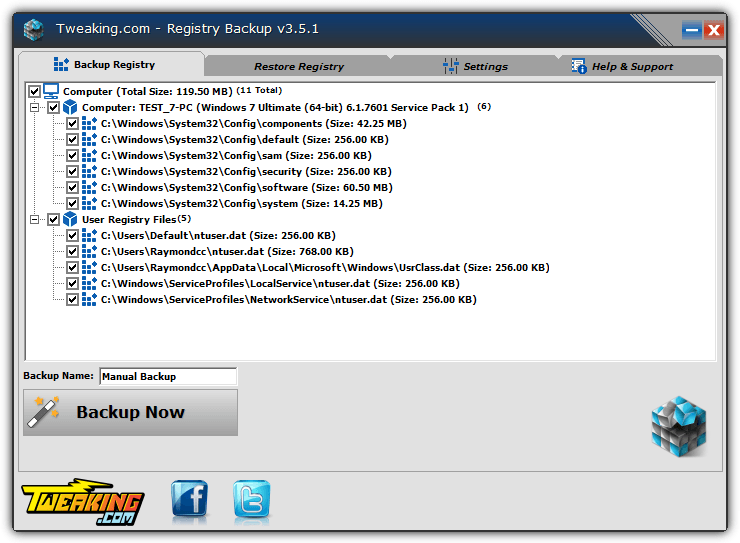 tweaking.com registry backup