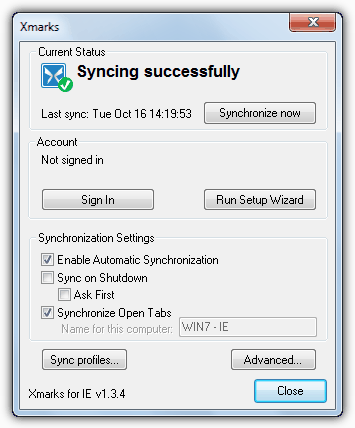 Xmarks Syncing Successfully
